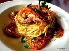 Zesty Spaghetti With Shrimp & Scallions - Kalofagas - Greek Food & Beyond