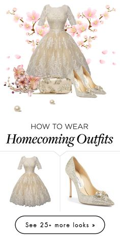 """Lace"" by atenaide86 on Polyvore featuring Jimmy Choo and Oscar de la Renta"