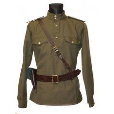 Soviet / Russian Army military uniform - Gimnasterka jacket, Portupeya belt
