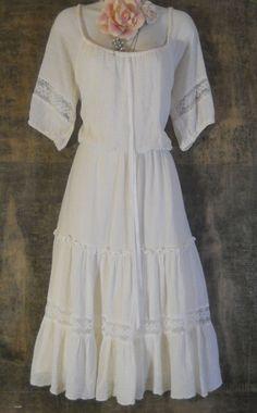 White boho dress cotton vintage  medium   from by vintageopulence