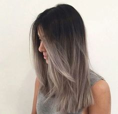 New Style Grey Ombre Haarfarbe Trend für dunkle Haare Hairstyles 2018 New Style Gray Ombre Hair color trend for dark hair Ombre Hair Color, Hair Color Balayage, Gray Ombre, Ash Balayage, Pastel Ombre, Hair Colour, Ash Brown Ombre, Ash Ombre Hair, Black To Grey Ombre Hair