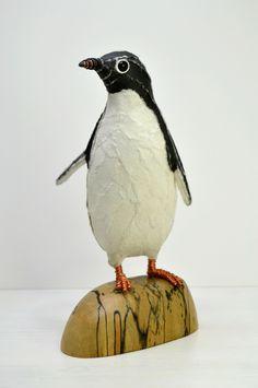 Adelie Penguin paper sculpture www.suzannebreakwell.com