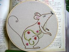 Embroidery PDF Pattern Autumn Fall Mouse Spiral and