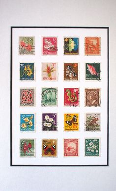 New Zealand Retro Stamp collage. Art Projects, Projects To Try, Greek Pattern, Old Letters, French Collection, Postage Stamp Art, Kiwiana, Custom Stamps, Displaying Collections