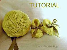 TUTORIAL. Patucos y gorro-capota de lana para bebe. ( tejido dos agujas) carmenbecares.blogspot.com