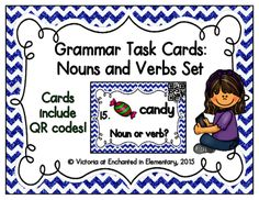 Grammar Task Cards: Nouns and Verbs Set from Enchanted in Elementary on TeachersNotebook.com -  (8 pages)  - Enchanted in Elementary: Grammar Task Cards: Nouns and Verbs Set
