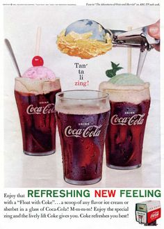 1960's Coca Cola Ad - Ice Cream Float with Coke