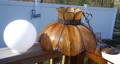 Gorgeous Vintage Caramel Slag Panelled Hanging Swag Lamp w/Ornate Metal & Globe