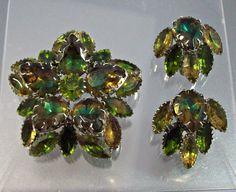 WATERMELON Crystal RHINESTONE Brooch Earrings by LynnHislopJewels, $119.99