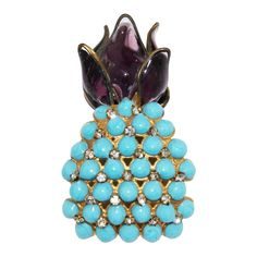 Gripoix Haute Couture Pineapple 1960 | From a unique collection of vintage brooches at https://www.1stdibs.com/jewelry/brooches/brooches/
