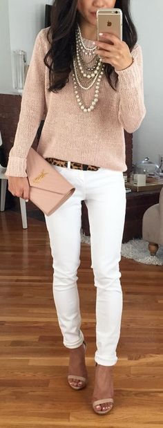 Get your very own personal stylist today with Stitch Fix! Blush comfy, oversized sweater and white jeans. Fall wear. Goes perfectly with nude! Beautiful statement necklace to dress it up, or flats to dress down.
