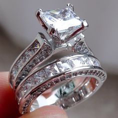 Details about Women fashion jewelry 925 silver white sapphire wedding ring set gifts size – Anillos De Compromiso Sapphire Wedding Rings, Wedding Rings Solitaire, Silver Wedding Rings, Band Engagement Ring, Wedding Rings Vintage, Engagement Ring Settings, Bridal Rings, Wedding Ring Bands, Wedding Jewelry