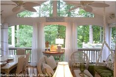 Screened-In Porch Addition: Patio Becomes Screened-In Porch Outdoor Rooms, Outdoor Living, Outdoor Ideas, Outdoor Fans, Outdoor Stuff, Outdoor Decor, White Wicker Furniture, Sunroom Furniture, Furniture Layout