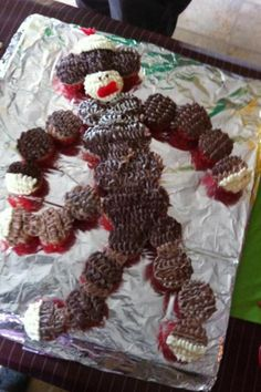 Sock monkey cupcake birthday cake for my boy!