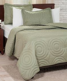 Another great find on #zulily! Green Embossed Quilt Set #zulilyfinds