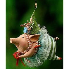 Mini Joyful Pig - Patience Brewster Ornament