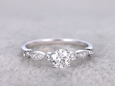 Vintage Moissanite Engagement Rings Diamond Promise Ring White Gold 14k/18k Art Deco Retro Milgrain