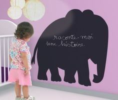 Writing on the wall is always fun for kids, but with Coco Boheme's chalkboard stickers it can be fun for parents, too. These animal-shaped wall stickers are biodegradable as they're made from a pot… Chalkboard Wall Kids, Chalkboard Stickers, Wall Stickers, Wall Decals, Diy Cadeau, Playroom Design, Playroom Ideas, Nursery Ideas, Wall Design