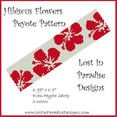 Peyote Bracelet Pattern Hibiscus (Buy 2 get 1 Free) | LostInParadise - Patterns on ArtFire