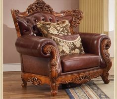 American classic style luxury cowskin genuine leather sectional sofa set with double-sided hand carving Vintage Leather Sofa, Leather Sofa Set, Leather Sectional Sofas, Latest Sofa Designs, Wooden Armchair, Classic Furniture, Furniture Design, Classic Style, Buddhists