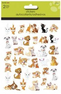 """Kitty & Puppy Stickers used-to decorate cards & envelopes. These by """"Sandy Lion""""."""
