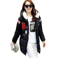 Korean Cartoon Women Hooded Zip Thicken Cotton Padded Warm Long Coat Outwear YRD