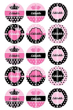 NEW - Editable 4x6 JPEG - Pink and Black Royalty - 1 inch Round Digital images for bottle cap pendants, cupcake toppers, badges, etc.