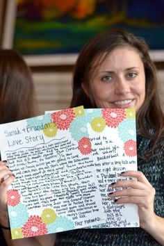 """Bridal Shower Game: Each guest writes 1-2 sentences to comprise the couple's """"Love Story."""" You pick up where the last person left off. Bride reads the story! Funny :)."""
