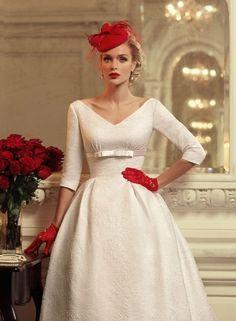 A Pop of Red - Darling Retro Wedding Dresses - Photos