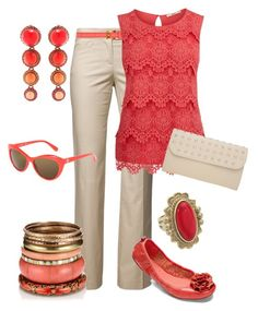 """Coral & Cream"" by maggiesuedesigns ❤ liked on Polyvore featuring Stefanel, Prada, Oasis, A