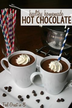 Homemade Healthy Hot Chocolate: 41/2 cups Almond Milk; 1/2 cup Unsweetened Cocoa Powder; 1/4-1/3 cup Pure Almond Syrup; 1/2 (about 1.5oz) Dark Chocolate Bar (70% cacao or more), melted; 1 teaspoon Pure Vanilla Extract or 3-4 drops essential oil (optional). Nutrtion facts and cooking instructions at site..