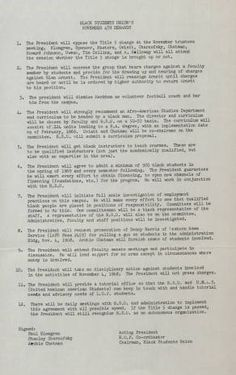 On November 4, 1968, members of the Black Student Union (BSU) and other disgruntled students of SFVSC took over the fifth floor of the Administration Building. Their goal was to air and resolve grievances that they had with the faculty and administration of the college. This is the list of demands that the BSU made to the college at that time. Campus Unrest Collection.