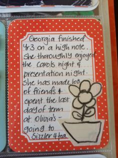 Project life cards are easy to alter if you keep your kid's drawings, cut them out and stick them on. Then just grab a decorated card when you want to journal about that child.