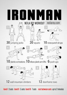 Ironman Workout by Neila Rey Fitness Workouts, Hero Workouts, Pop Workouts, Sport Fitness, At Home Workouts, Fitness Motivation, Health Fitness, Fitness Shirts, Fitness Hacks