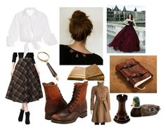 """""""Abigail Rook - Jackaby"""" by grinleysspa ❤ liked on Polyvore featuring Frye, Johanna Ortiz, Eliza J, Quail Ceramics, bookcharacters, jackaby and AbigailRook"""