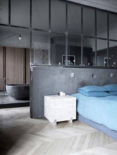If all I have is a studio, but it looks as good as this, why not! Love the blue and grey combination.