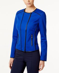 INC International Concepts Petite Piped Moto Jacket, Only at Macy's