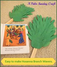 Easy to make Hosanna Branch Wavers. {A Palm Sunday Craft} by elvira