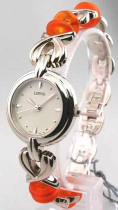 WOMENS LORUS CASUAL STEEL CHARM NEW WATCH RRS975L9 Lorus. $9.95. * Rotating Second Hand. * Sharp Beige Face. * Analog with Silver Hands & Hour Markers. * Adjustable Metal Bracelet Band w/ Orange Lifesaver Charms. * Stainless Steel Case Back