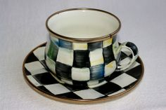 """MacKenzie Childs """"Courtly Check"""" Enamelled Teacup and Saucer Set"""