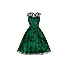 Retro šaty Lindy Bop Frankie Jean Šaty ve stylu 50. let. Nádherné slavnostní šaty vhodné pro společenské události - na ples, svatbu, promoci, do divadla, večírek, romantickou večeři. Spodní zelená brokátová vrstva s úzkými ramínky, na ní černá tylová, krajková s květy, úzká vázačka u krku, skrytý zip v bočním švu. Pro dokonalý vzhled a objem sukně doporučujeme pořídit spodničku z naší nabídky. Retro, Dresses, Fashion, Gowns, Moda, Fashion Styles, Dress, Vestidos, Fashion Illustrations