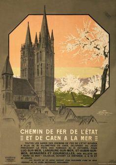 chemins de fer de l'état et de Caen à la mer - illustration de Géo DORIVAL - 1912 - France -