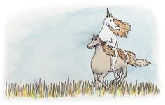 """Unicorn riding a horse in a meadow. Also, don't miss """"unicorn being a jerk""""."""