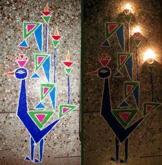 Peacock Rangoli Patterns and Designs