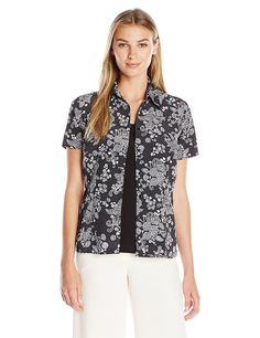 Notations Women's Short Sleeve Printed Blouse with Solid Inset *** Click on the image for additional details.