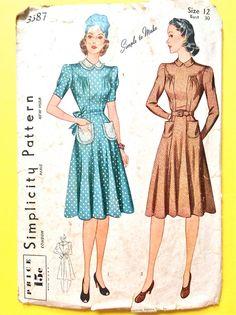 années 1930 simplicité 3387 A une seule pièce robe s'élança au tour de taille Vintage couture patron buste 30