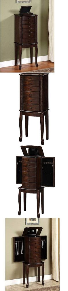 Jewelry Boxes 3820: Jewelry Armoire With Mirror Vintage Wood Storage Box Bedroom Traditional Decor -> BUY IT NOW ONLY: $136 on eBay!