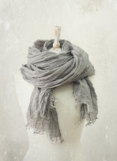 FROST GREY LINEN scarf / soft fringe by KnockKnockLinen on Etsy