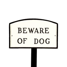 Montague Metal Products SP4smWBLS Small White and Black Beware of Dog Arch Statement Plaque with 23Inch Lawn Stake *** Want to know more, click on the image.