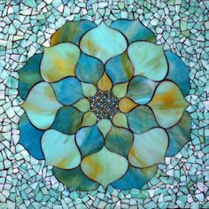 """Flowers: Turquoise Lotus Flower, stained glass mosaic, 22"""" ..."""